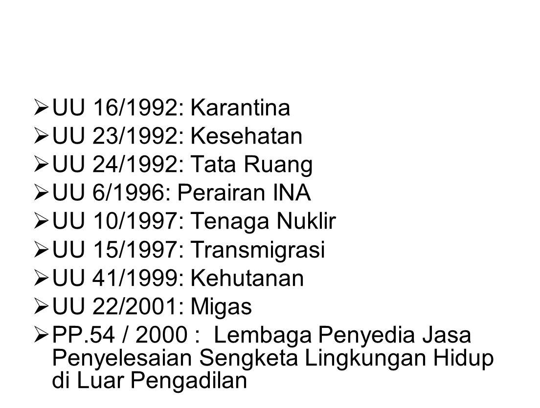 UU 16/1992: Karantina UU 23/1992: Kesehatan. UU 24/1992: Tata Ruang. UU 6/1996: Perairan INA. UU 10/1997: Tenaga Nuklir.