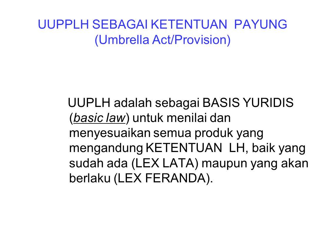UUPPLH SEBAGAI KETENTUAN PAYUNG (Umbrella Act/Provision)