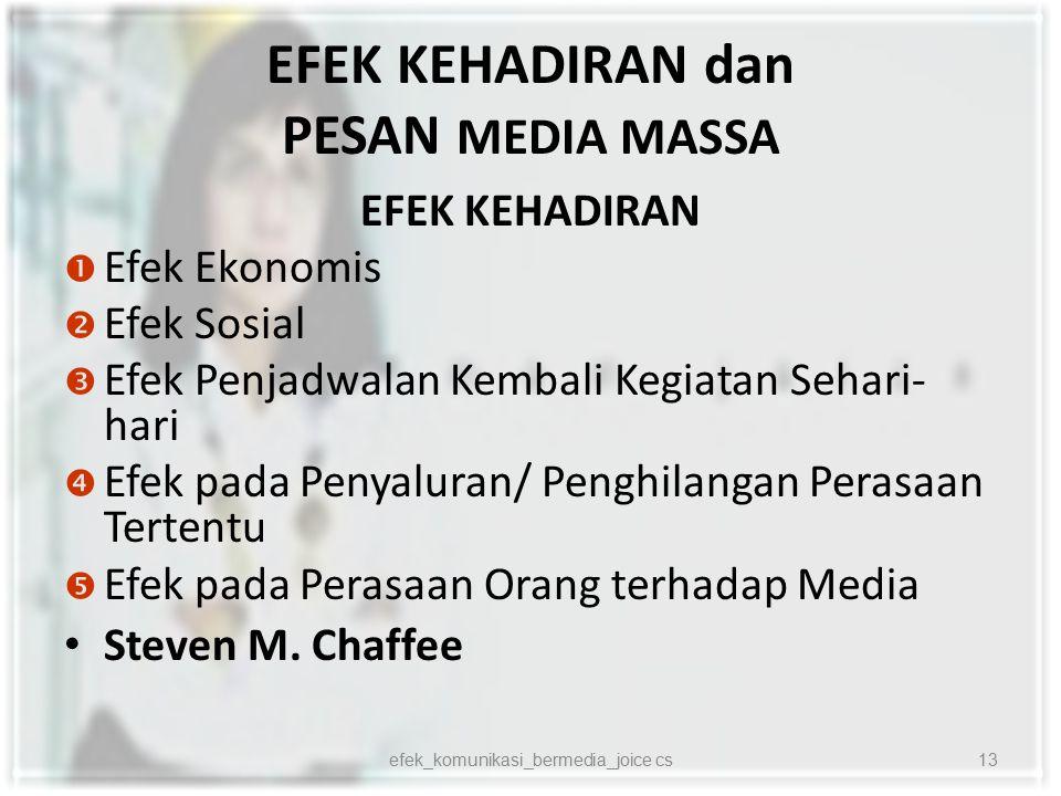 EFEK KEHADIRAN dan PESAN MEDIA MASSA