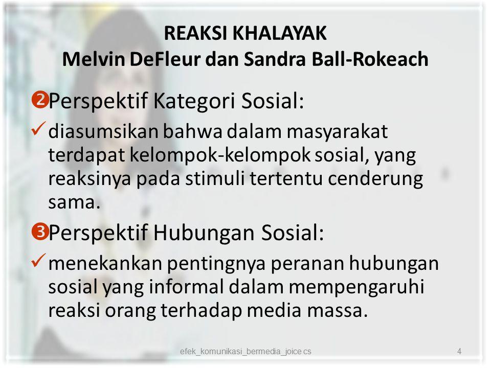 REAKSI KHALAYAK Melvin DeFleur dan Sandra Ball-Rokeach