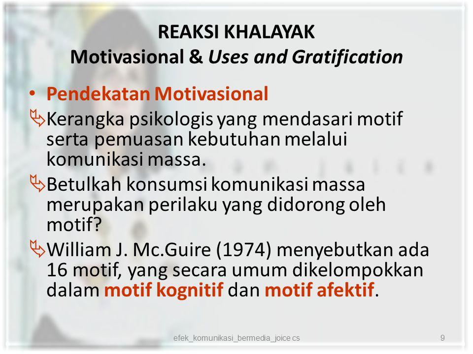 REAKSI KHALAYAK Motivasional & Uses and Gratification