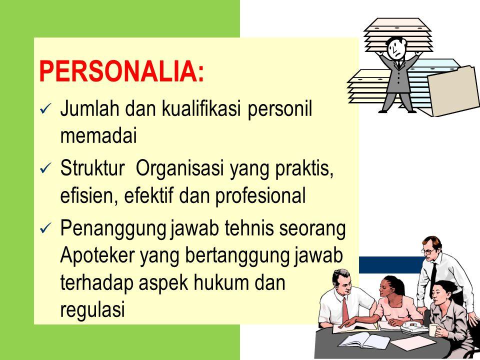 PERSONALIA: Jumlah dan kualifikasi personil memadai