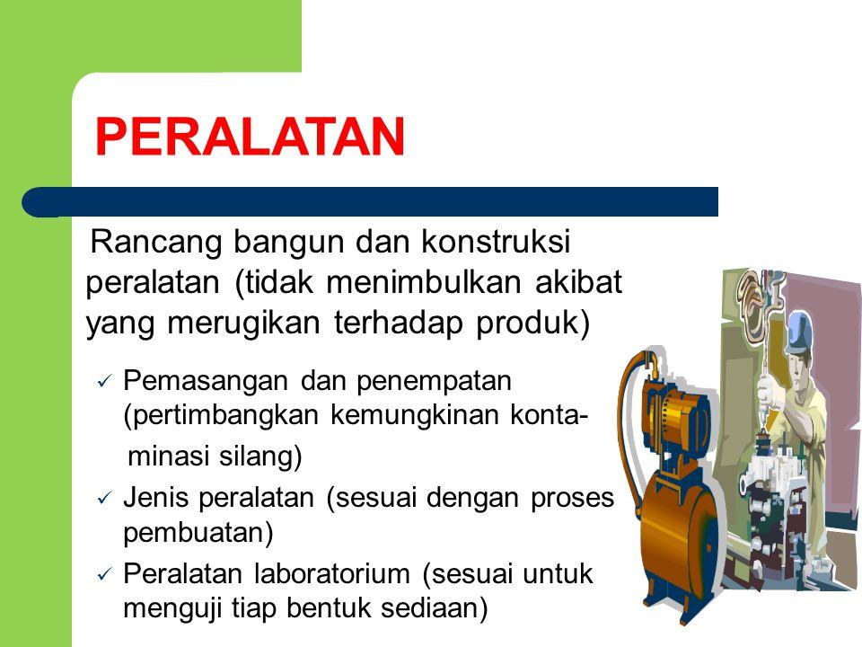 PERALATAN Rancang bangun dan konstruksi peralatan (tidak menimbulkan akibat yang merugikan terhadap produk)