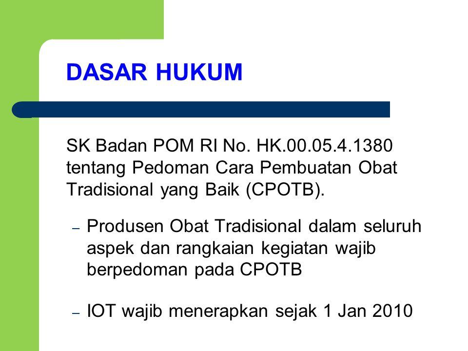 DASAR HUKUM SK Badan POM RI No. HK.00.05.4.1380 tentang Pedoman Cara Pembuatan Obat Tradisional yang Baik (CPOTB).