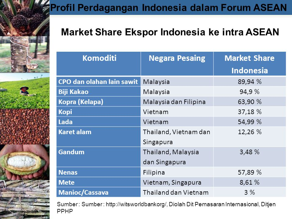 Market Share Ekspor Indonesia ke intra ASEAN Market Share Indonesia