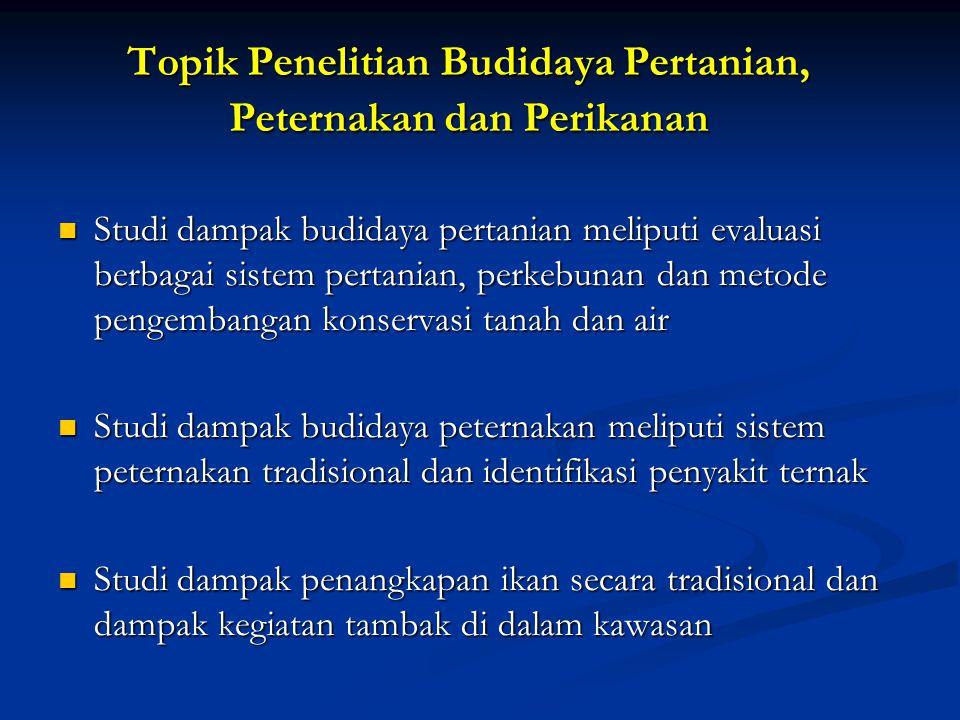 Topik Penelitian Budidaya Pertanian, Peternakan dan Perikanan