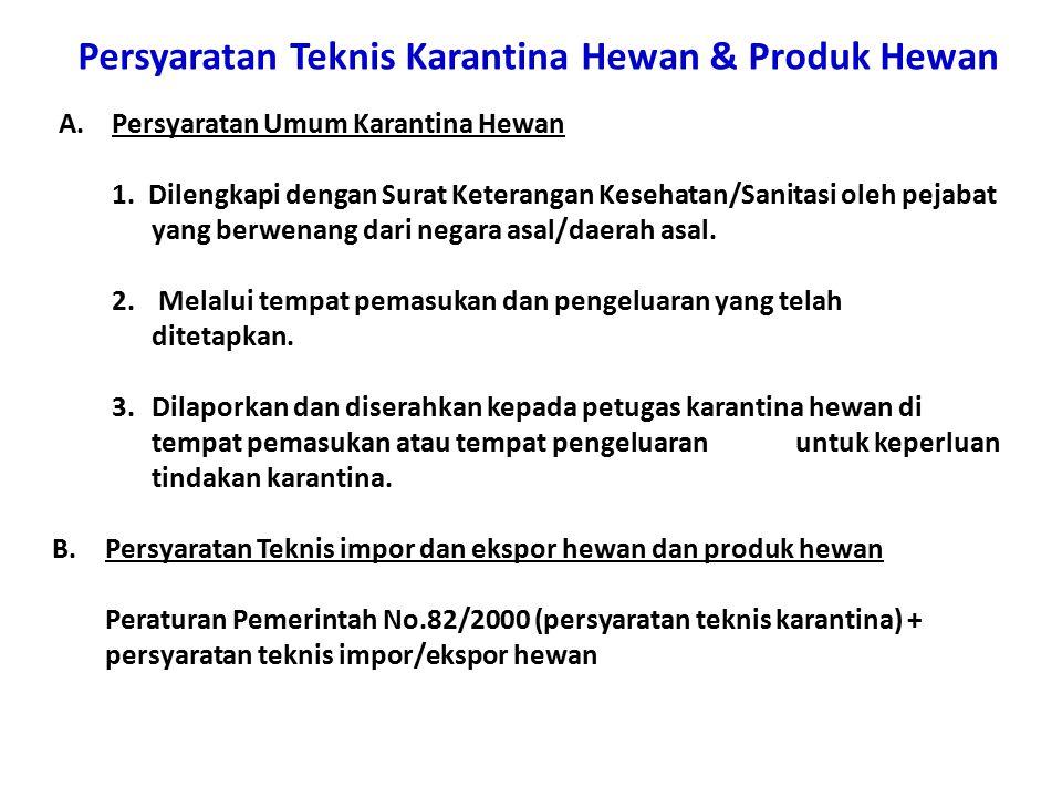 Persyaratan Teknis Karantina Hewan & Produk Hewan