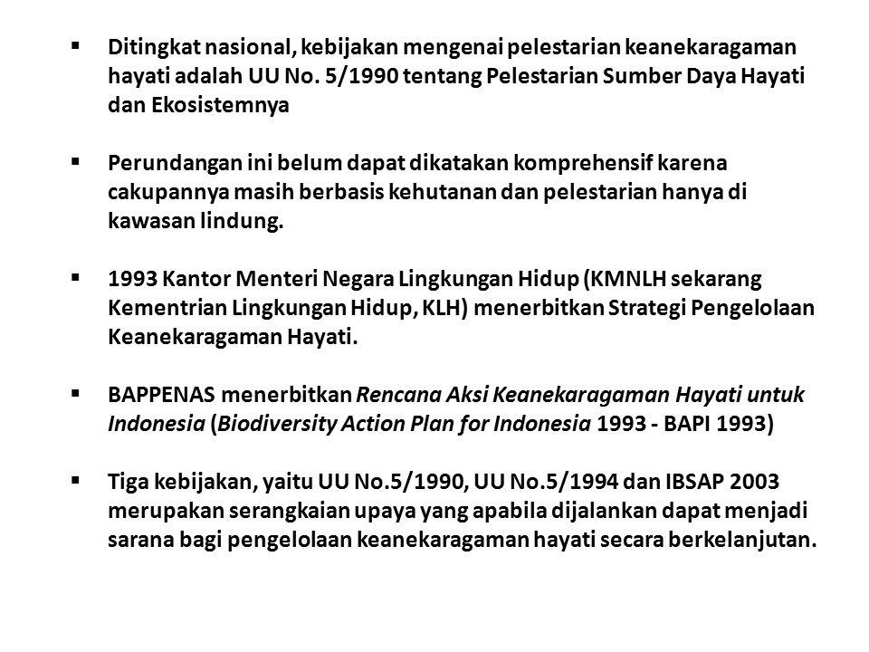 Ditingkat nasional, kebijakan mengenai pelestarian keanekaragaman hayati adalah UU No. 5/1990 tentang Pelestarian Sumber Daya Hayati dan Ekosistemnya