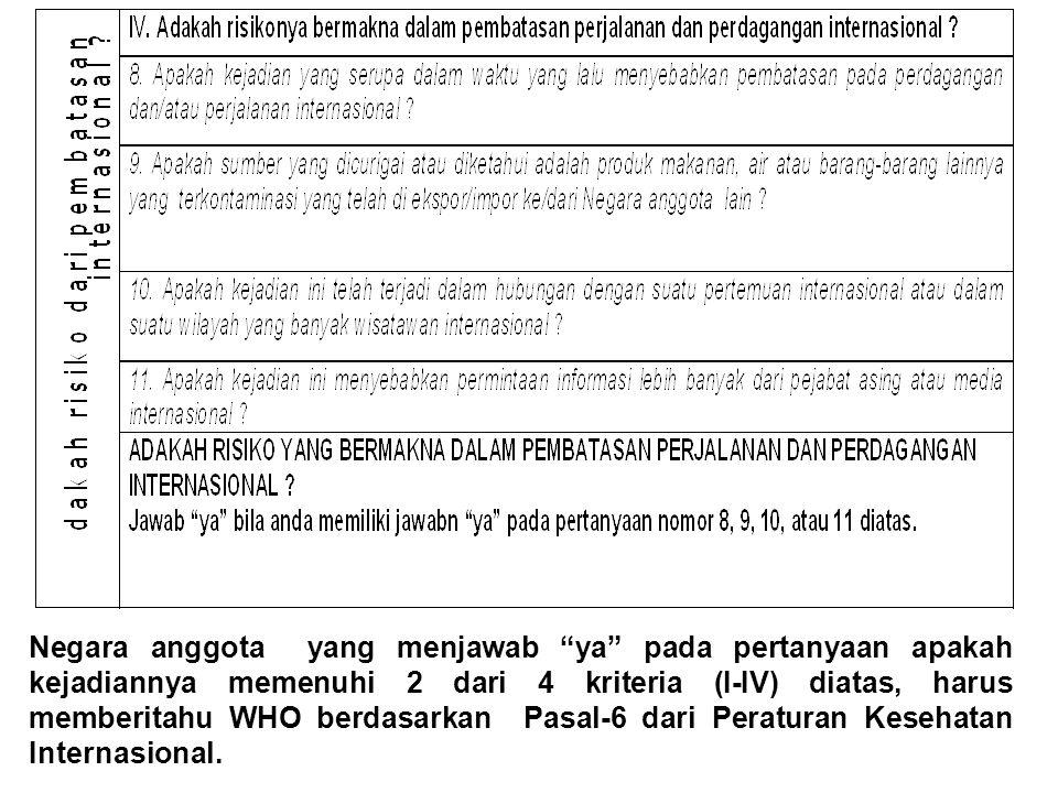 Negara anggota yang menjawab ya pada pertanyaan apakah kejadiannya memenuhi 2 dari 4 kriteria (I-IV) diatas, harus memberitahu WHO berdasarkan Pasal-6 dari Peraturan Kesehatan Internasional.
