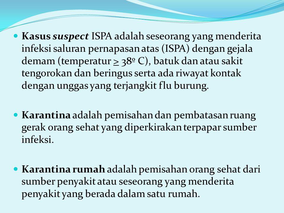 Kasus suspect ISPA adalah seseorang yang menderita infeksi saluran pernapasan atas (ISPA) dengan gejala demam (temperatur > 38º C), batuk dan atau sakit tengorokan dan beringus serta ada riwayat kontak dengan unggas yang terjangkit flu burung.