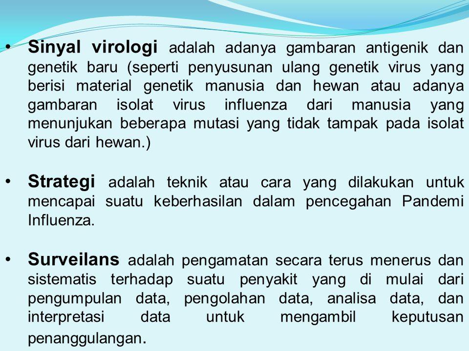 Sinyal virologi adalah adanya gambaran antigenik dan genetik baru (seperti penyusunan ulang genetik virus yang berisi material genetik manusia dan hewan atau adanya gambaran isolat virus influenza dari manusia yang menunjukan beberapa mutasi yang tidak tampak pada isolat virus dari hewan.)