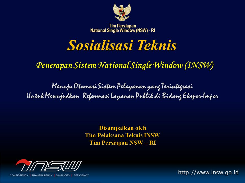 Penerapan Sistem National Single Window (INSW)