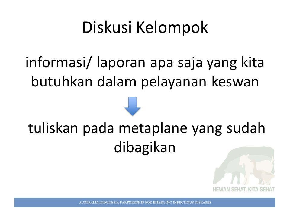 Diskusi Kelompok informasi/ laporan apa saja yang kita butuhkan dalam pelayanan keswan.