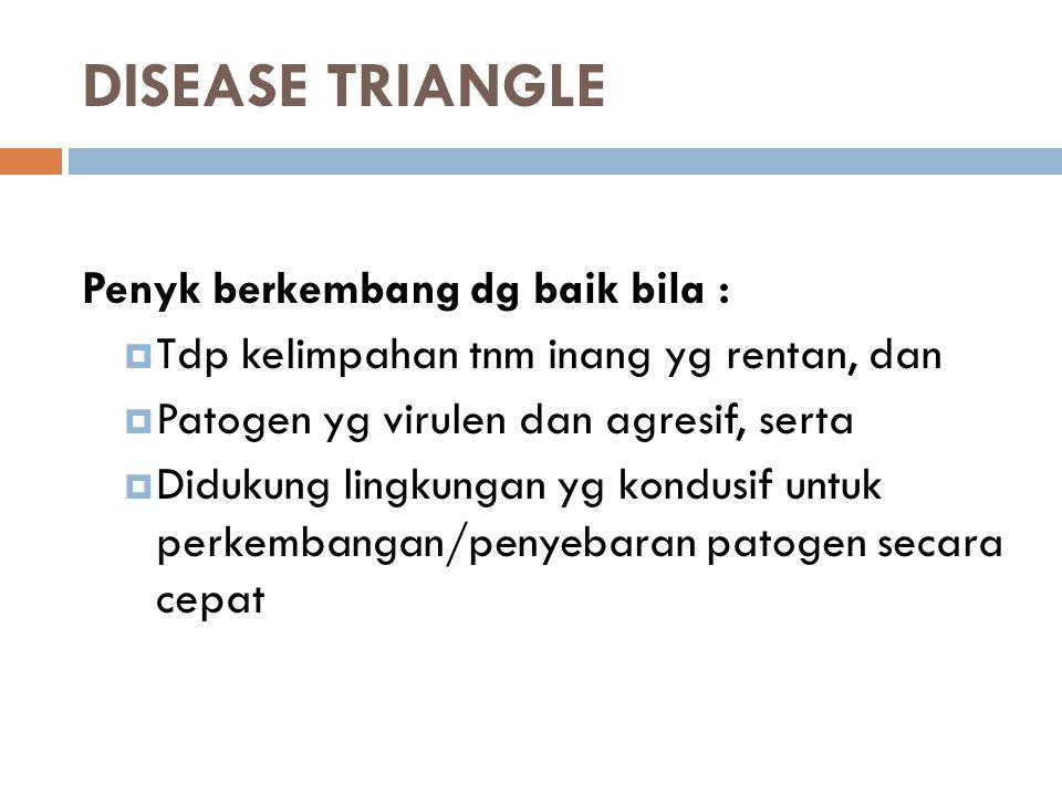 DISEASE TRIANGLE Penyk berkembang dg baik bila :