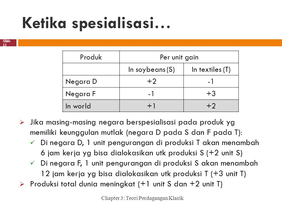 Ketika spesialisasi… Produk. Per unit gain. In soybeans (S) In textiles (T) Negara D. +2. -1.