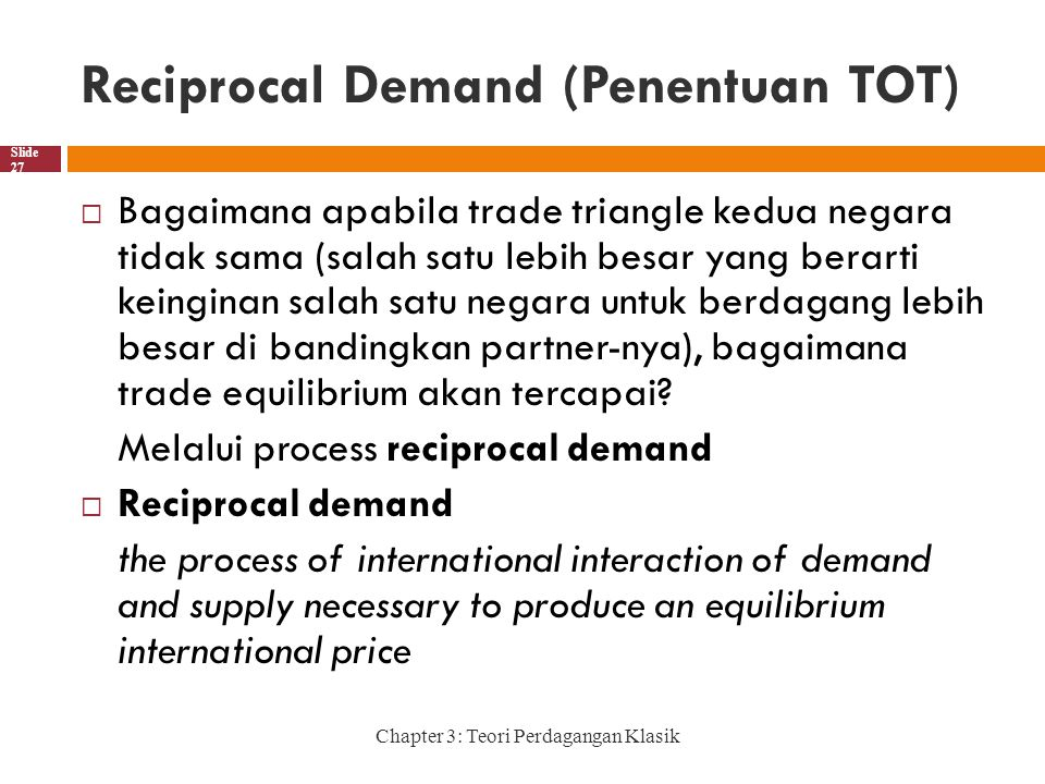 Reciprocal Demand (Penentuan TOT)