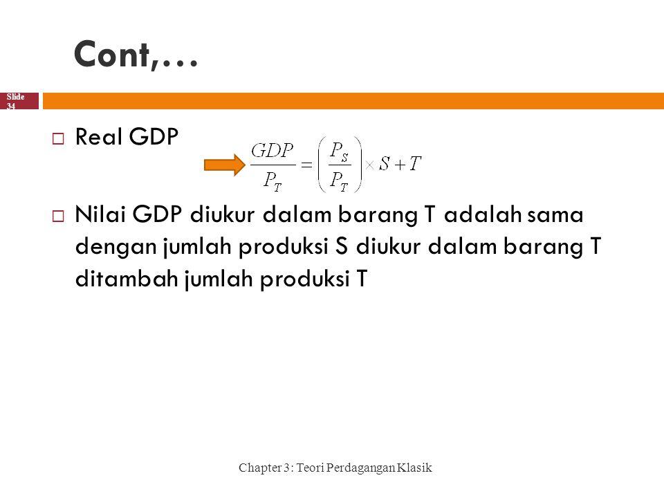 Cont,… Real GDP. Nilai GDP diukur dalam barang T adalah sama dengan jumlah produksi S diukur dalam barang T ditambah jumlah produksi T.