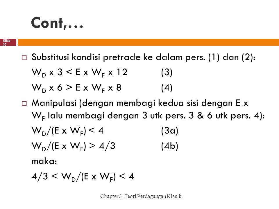 Cont,… Substitusi kondisi pretrade ke dalam pers. (1) dan (2):