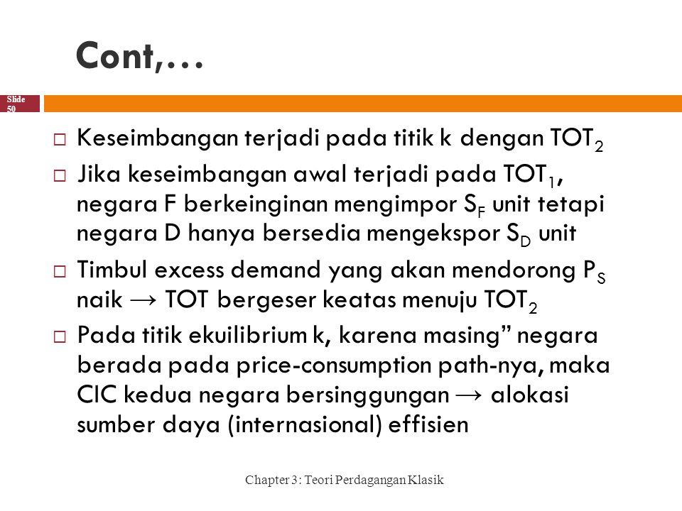 Cont,… Keseimbangan terjadi pada titik k dengan TOT2