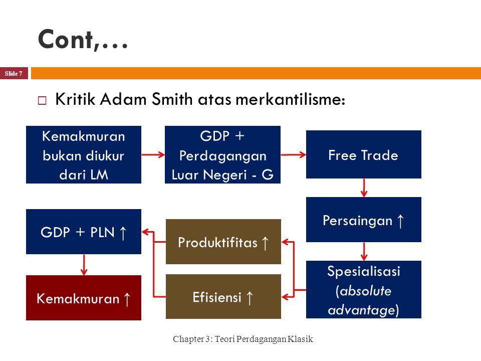 Cont,… Kritik Adam Smith atas merkantilisme: