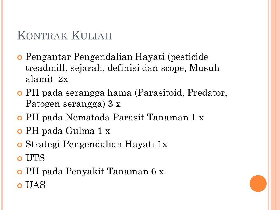 Kontrak Kuliah Pengantar Pengendalian Hayati (pesticide treadmill, sejarah, definisi dan scope, Musuh alami) 2x.