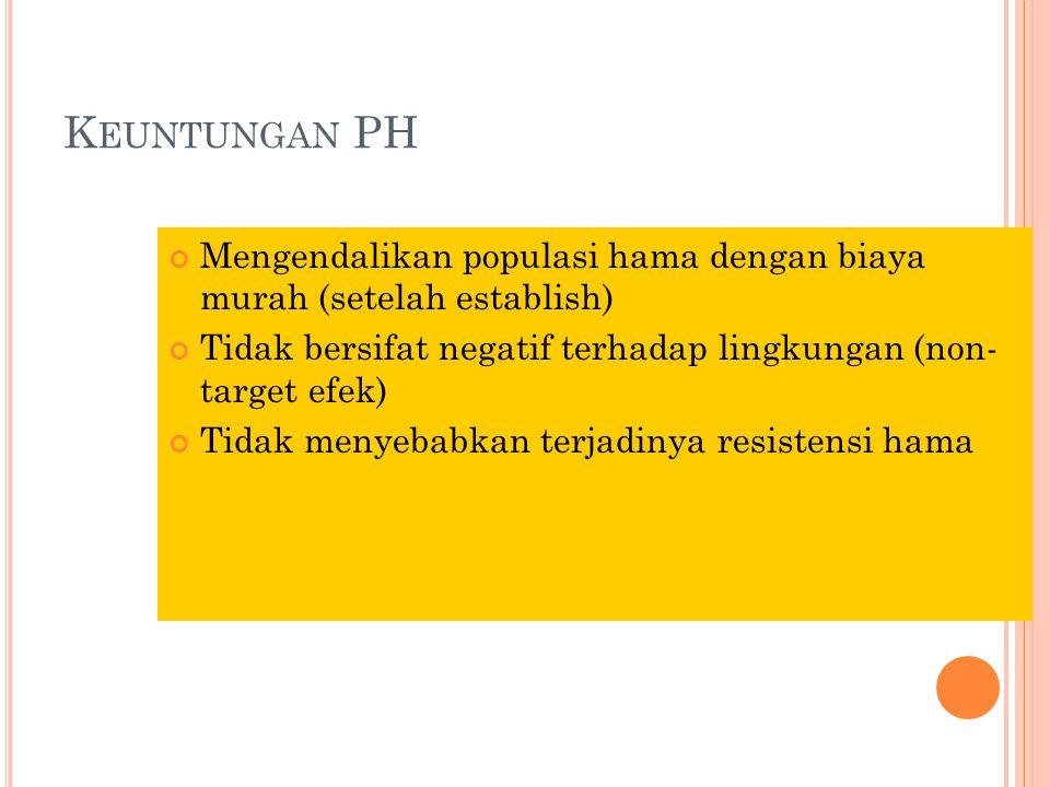 Keuntungan PH Mengendalikan populasi hama dengan biaya murah (setelah establish) Tidak bersifat negatif terhadap lingkungan (non- target efek)