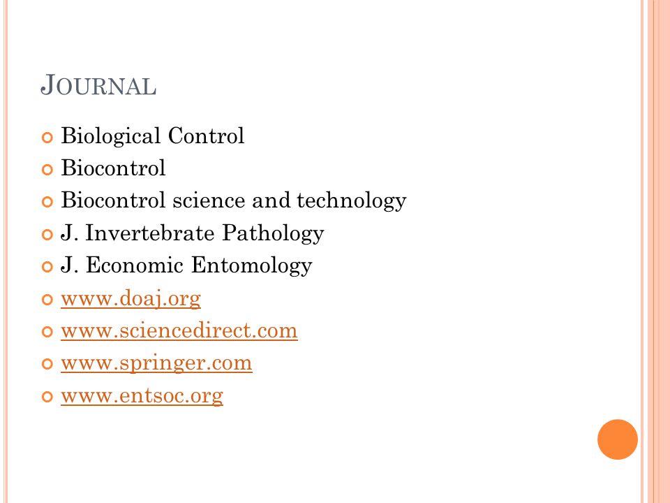 Journal Biological Control Biocontrol