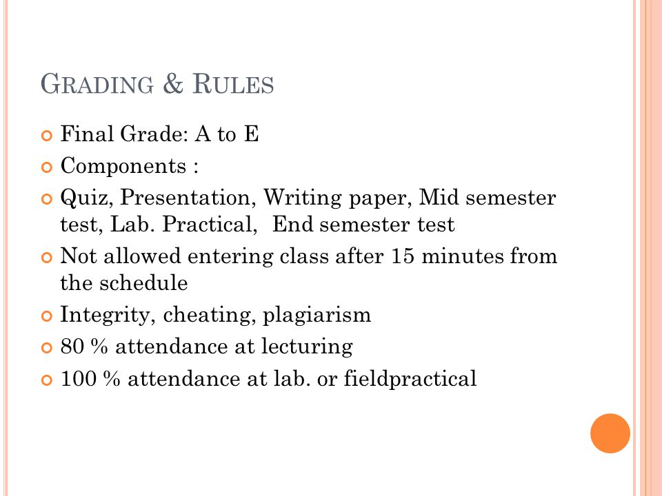 Grading & Rules Final Grade: A to E Components :