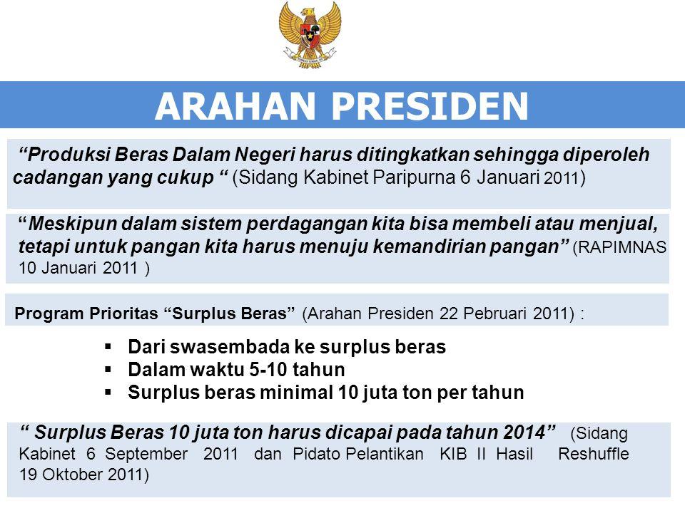 ARAHAN PRESIDEN Produksi Beras Dalam Negeri harus ditingkatkan sehingga diperoleh cadangan yang cukup (Sidang Kabinet Paripurna 6 Januari 2011)