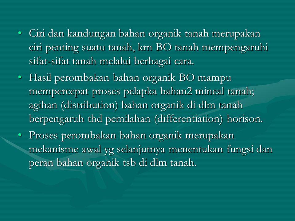 Ciri dan kandungan bahan organik tanah merupakan ciri penting suatu tanah, krn BO tanah mempengaruhi sifat-sifat tanah melalui berbagai cara.