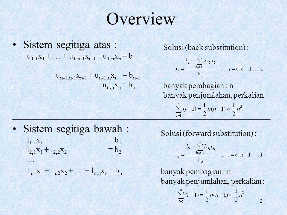 Overview Sistem segitiga atas : Sistem segitiga bawah :