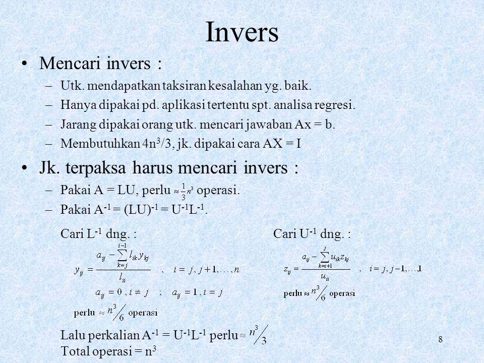 Invers Mencari invers : Jk. terpaksa harus mencari invers :