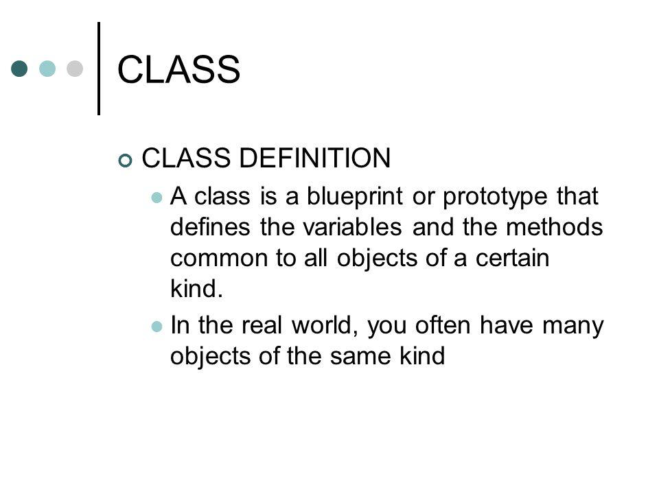 CLASS CLASS DEFINITION