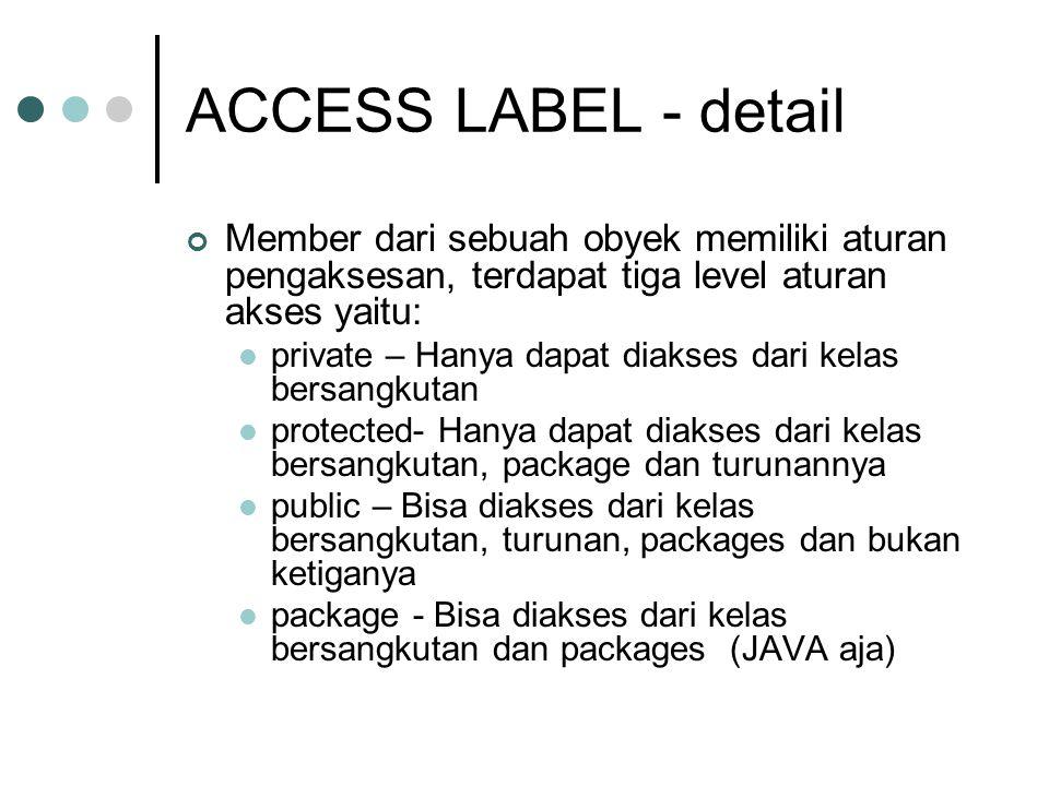 ACCESS LABEL - detail Member dari sebuah obyek memiliki aturan pengaksesan, terdapat tiga level aturan akses yaitu: