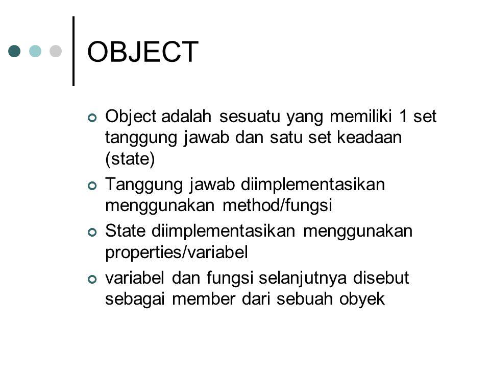 OBJECT Object adalah sesuatu yang memiliki 1 set tanggung jawab dan satu set keadaan (state)