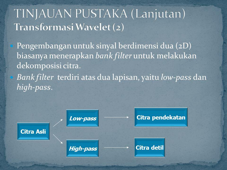 TINJAUAN PUSTAKA (Lanjutan) Transformasi Wavelet (2)