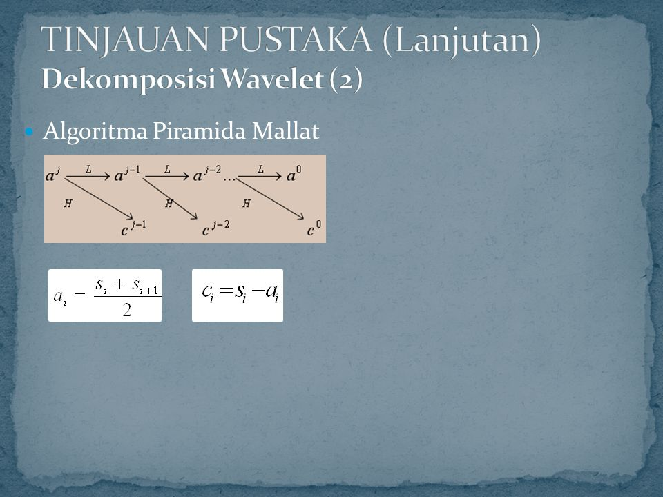 TINJAUAN PUSTAKA (Lanjutan) Dekomposisi Wavelet (2)