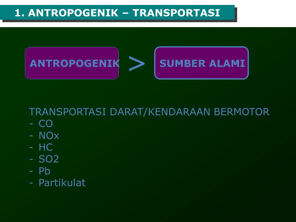 > 1. ANTROPOGENIK – TRANSPORTASI ANTROPOGENIK SUMBER ALAMI