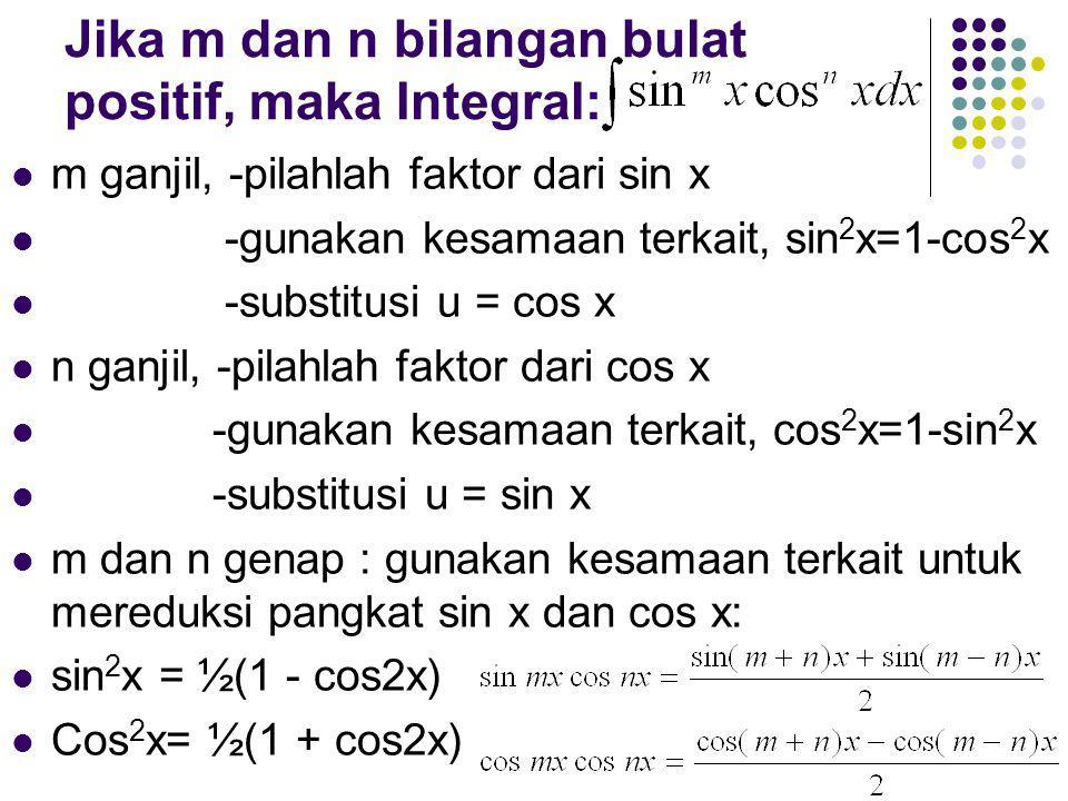 Jika m dan n bilangan bulat positif, maka Integral:
