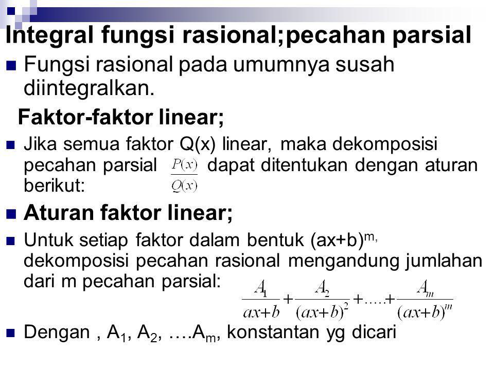 Integral fungsi rasional;pecahan parsial