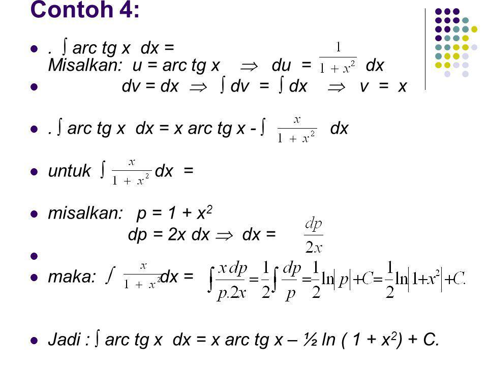 Contoh 4: . ∫ arc tg x dx = Misalkan: u = arc tg x  du = dx