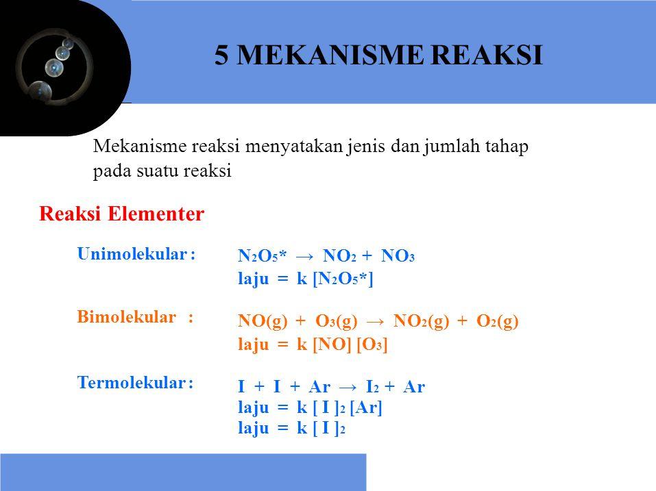 Mekanisme reaksi menyatakan jenis dan jumlah tahap