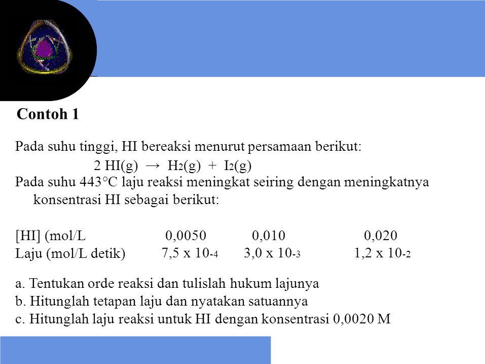 Contoh 1 Pada suhu tinggi, HI bereaksi menurut persamaan berikut: