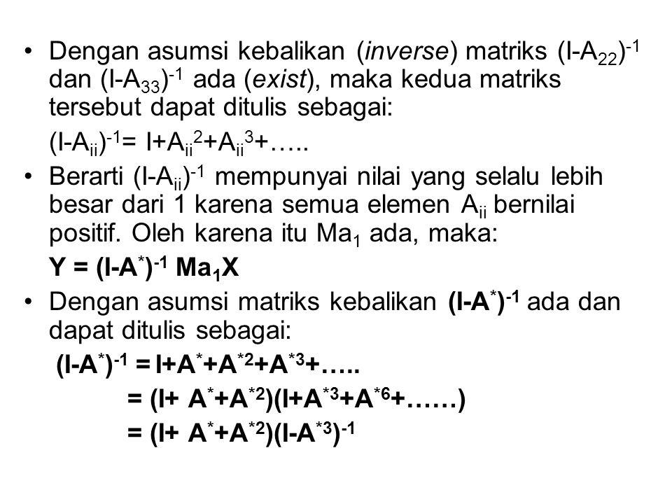Dengan asumsi kebalikan (inverse) matriks (I-A22)-1 dan (I-A33)-1 ada (exist), maka kedua matriks tersebut dapat ditulis sebagai: