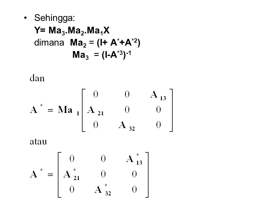 Sehingga: Y= Ma3.Ma2.Ma1X dimana Ma2 = (I+ A*+A*2) Ma3 = (I-A*3)-1