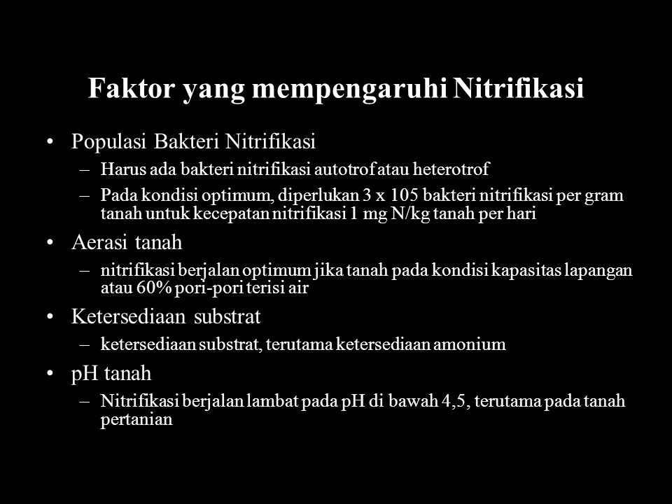 Faktor yang mempengaruhi Nitrifikasi