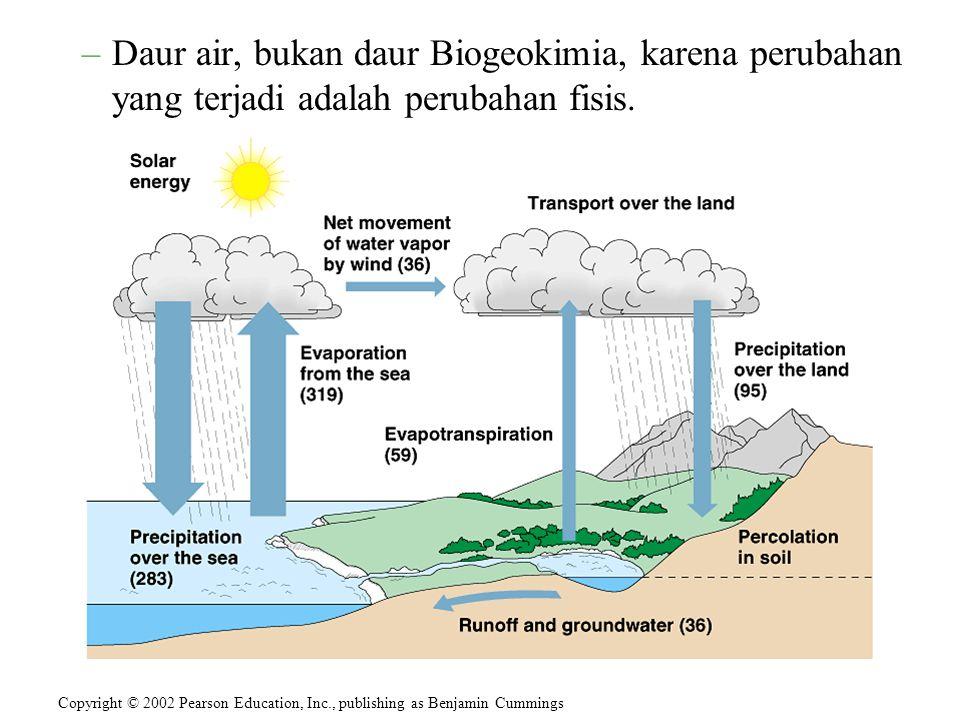 Daur air, bukan daur Biogeokimia, karena perubahan yang terjadi adalah perubahan fisis.