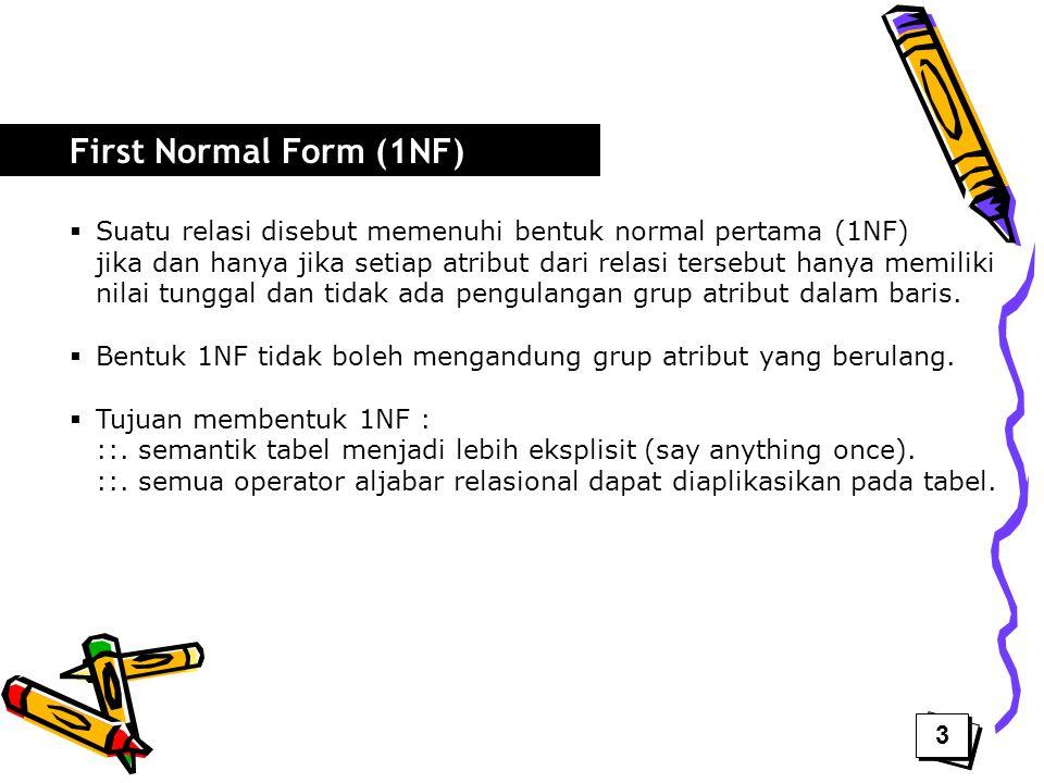 First Normal Form (1NF) Suatu relasi disebut memenuhi bentuk normal pertama (1NF)
