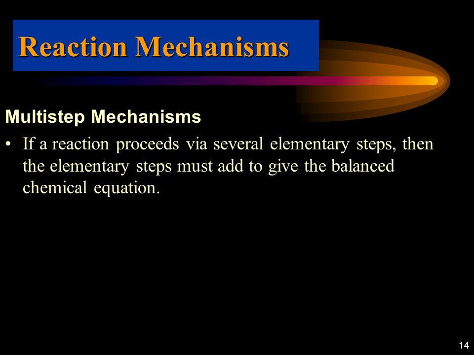 Reaction Mechanisms Multistep Mechanisms