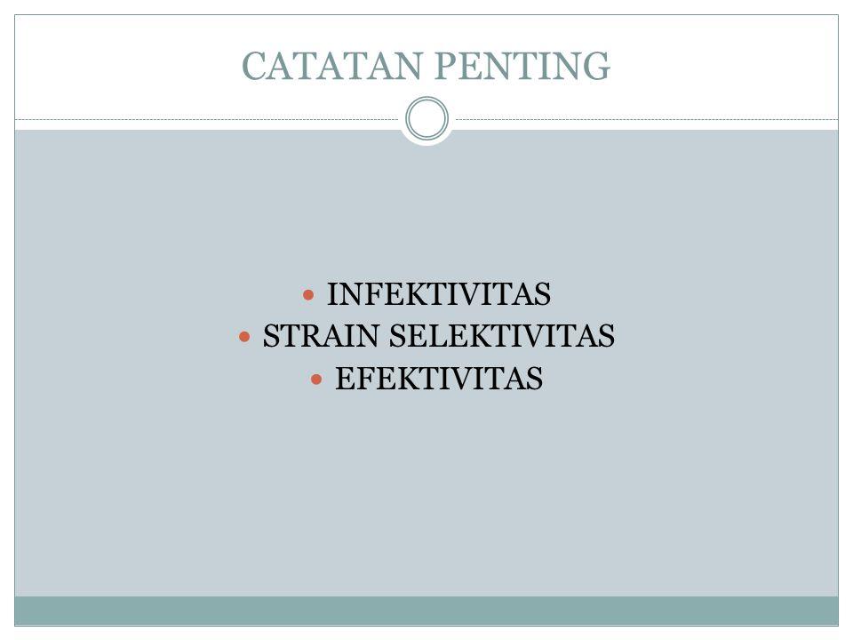 CATATAN PENTING INFEKTIVITAS STRAIN SELEKTIVITAS EFEKTIVITAS